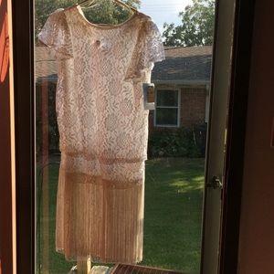 Vintage lace with fringe dress